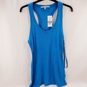 Women's Sleeveless Ribbed Tank Top Blue Large